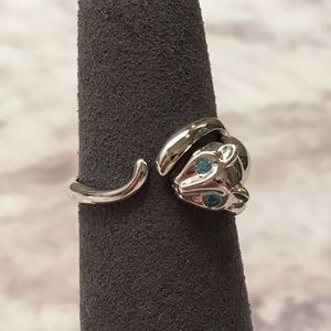 Sterling Silver Cat Aqua Blue CZ Ring